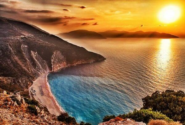 Myrtos beach sunset