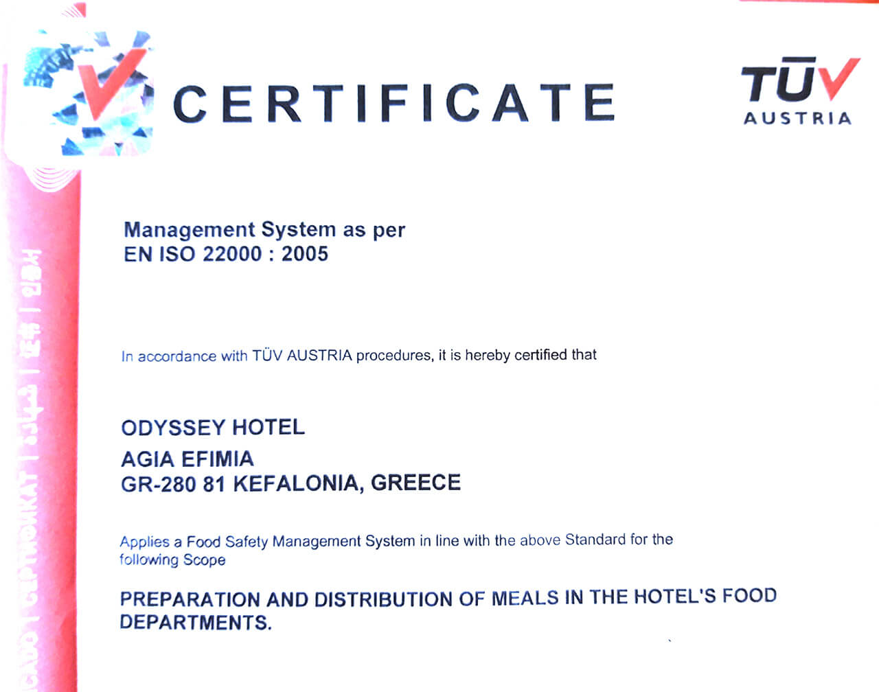 Odyssey hotel receives Quality Certification from TÜV Austria Hellas